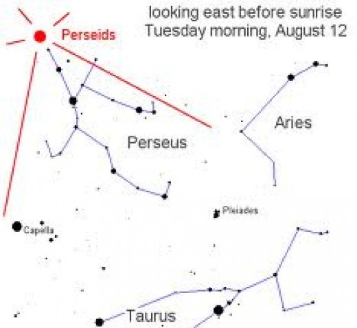 This sky map highlights the area of the sky where the constellation Perseus is located. the area in and around this point is where the majority of meteors will be seen blazing across the night time sky.