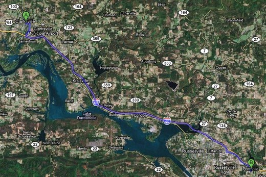 Satellite map of Clarksville to Pottsville. Maps with the satellite overlay show more points of interest we might want to see that we might miss in regular maps or other media.