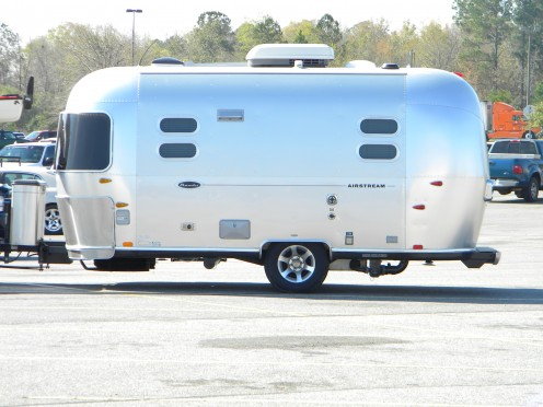 Use an aluminum cleaner for best results on campers such as this Airstream Bambi.