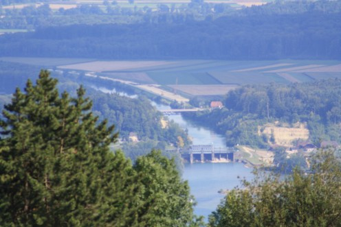 Lake Biel Panorama viewing from Prêles- Switzerland, meeting point of the river and lake.
