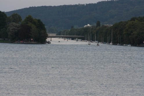 Meeting Point of The River & Lake Biel, Switzerland, Motorboat hopping the 3 big lakes ( Biel, Murten, Neuchätel)