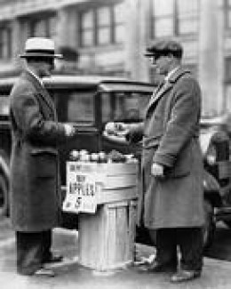 Selling apples during the Great Depression was an easy way for men to make some extra money. You can adapt this method of seeking odd jobs that will help you keep groceries in the house and your lights on.
