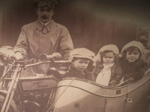 His Harley and sidecar with Bob Violet and Josephine aboard