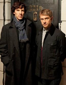 "Freeman as Dr. Watson with Benedict Cumberbatch as Sherlock Holmes in BBC's popular crime drama ""Sherlock"""
