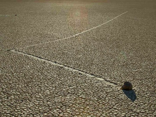 """Sailing Stones"" tracks often change direction for no apparent reason."