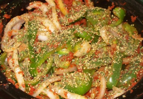 seasoned green peppers and onions