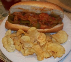 sausage & peppers hoagie and chips
