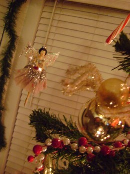fairies decorating the tree, Fairies hanging on fishing line around the tree