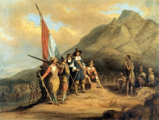 Fanciful depiction of the landing of Jan van Riebeeck on 6 April 1652 by Charles Bell. Painted in 1850 the work now is in the possession of the South African Library