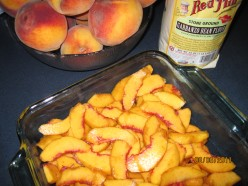 Peaches Layered in Prepared Dish