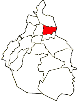 Map location of Venustiano Carranza suburb, Mexico City Federal District