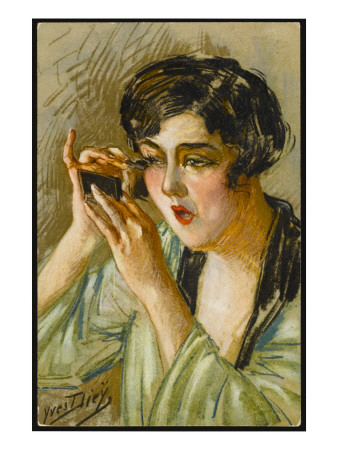 Woman in a Green Dressing Gown, Applying Her Mascara