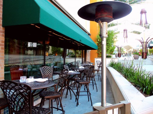 - Outdoor dining provides a quaint European flare - All restaurants are equipped with heating units to monitor temperature and engage when needed which is not that often in Orange County -
