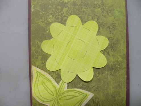 Flower & Stem adhered to the card