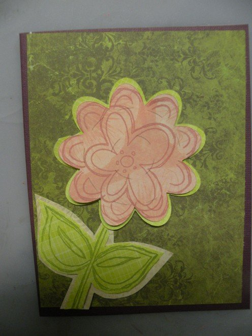 Flower and stem layers adhered to the card
