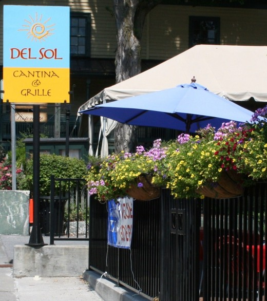 Enjoy delicious Mexican food either on Del Sol's patio or in its comfortable indoor dining room.