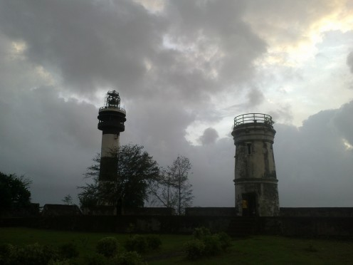 Old and the new light house at Daman, India