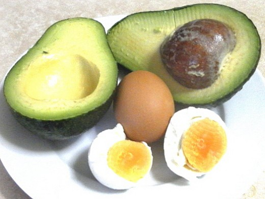 avocado and boiled salted eggs
