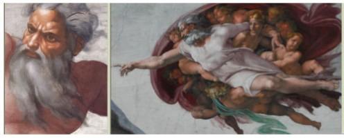See: http://en.wikipedia.org/wiki/Sistine_Chapel_ceiling Source: Wikimedia Commons / Michelangelo Buonarroti Sistine Chapel - Michelangelo between 1508 and 1512