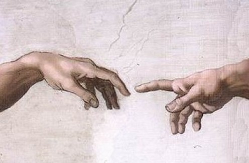 Sistine Chapel - Michelangelo between 1508 and 1512 See: http://en.wikipedia.org/wiki/File:Hands_of_God_and_Adam.jpg