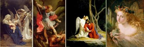 Carl Heinrich Bloch - Angel comforting Jesus in the Garden of Gethsemane - 1865-1879 http://en.wikipedia.org/wiki/File:Gethsemane_Carl_Bloch.jpg Guido Reni - Archangel Michael - 1636 http://en.wikipedia.org/wiki/File:Guido_Reni_031.jpg William-Adolph