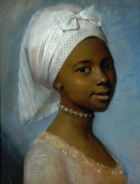 Portrait of a young girl in pearls.