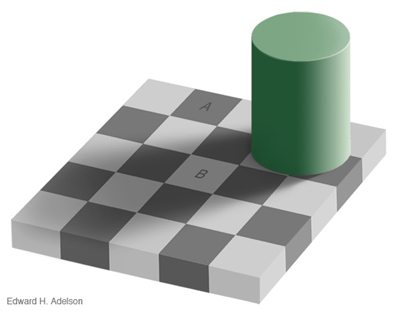 The 'A' and 'B' are actually the same shades of grey.