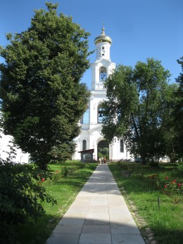 Bell Tower at entrance to St. George's Monastery in Veliky Novgorod, Russia