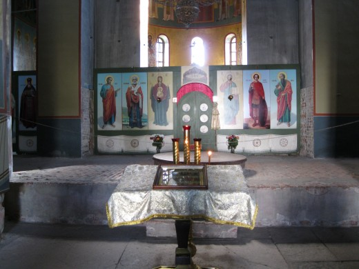 Main altar of St. George's Cathedral in St. George's Monastery in Velicky Novgorod, Russia