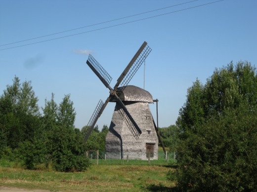 Windmill located just outside walls of St. George Monastery in Village of Yurievo, Novgorod Oblast, Russia