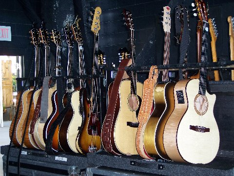 A bunch of guitars waiting to be played!