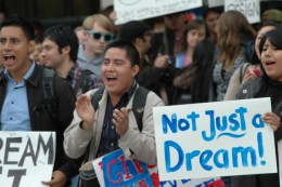 Students rally for the passage of the D.R.E.A.M Act last November in Fresno, California