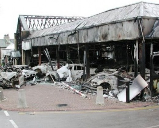 Burnt out car showroom