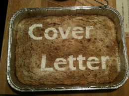 Cover letter spelled into a casserole.