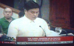 Senator Juan Miguel Zubiri (Photo by Travel Man on television live feed c/o ABS-CBN Channel 2)