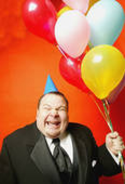 Here's the REAL LOSER who shows up uninvited at parties--carrying balloons to an adult gathering with no children. Be wary of men like this. You never know what they might do next.