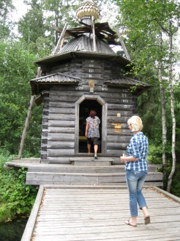 Chapel next to sacred spring in vicinity of Valday District of Novgorod Oblast, Russia