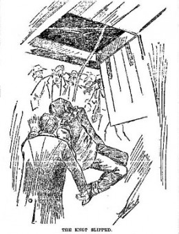 Newspaper depiction of the bungled hanging