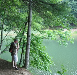 Hike, bike or horseback ride the numerous trails around Pipestem's Long Branch Lake.