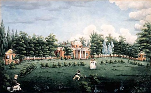 View of the West Front of Monticello and Garden depicting Jefferson's grandchildren at Monticello watercolour on paper  by_Jane_Braddick_Peticolas_ 1825_at_Monticello