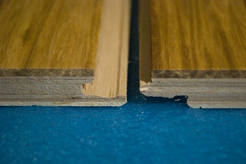 This model of flooring  from Bamboo Importers has a modified tongue and grove connection. Here the flange clicks together with the next board to secure the boards together.