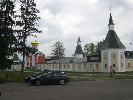 Outer wall of monastery.  (Monastery in Valday District near Veliky Novgorod, Russia)
