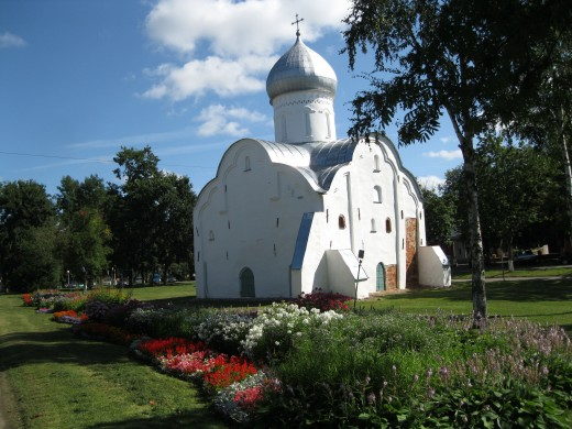 Church built in 1407.  In a little park near Kremlin in Veliky Novgorod, Russia.