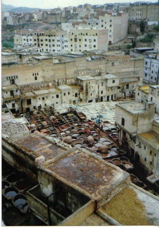 Fes, Morocco - Tanneries in the dyers district where silk, cloth, leader, wool are dyed in top of the roofs of the houses.