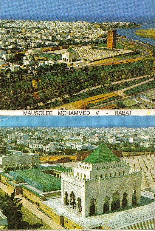 Rabat - Marocco Mausoleum Mohammed V, Hassan Turm-in the foreground, the pillars of a former prayer hall.