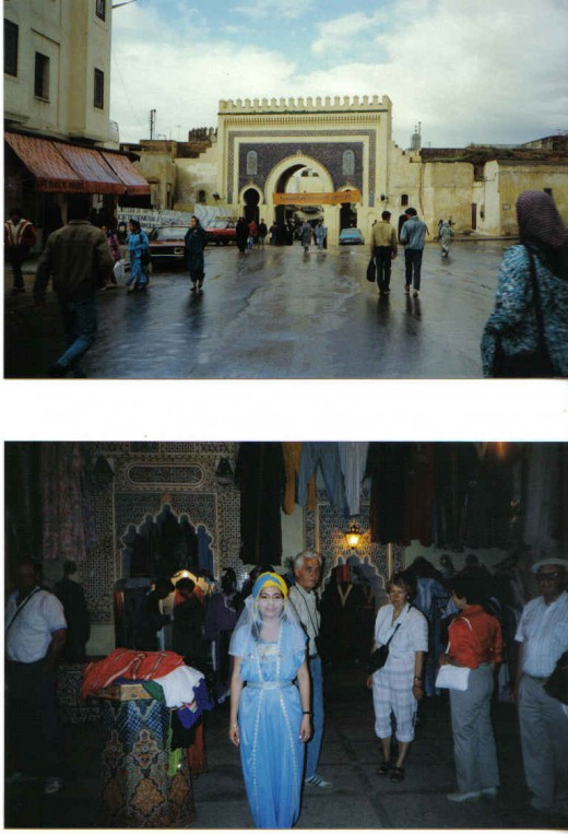 Fez, Morocco - Bab Boujloud famous (blue gate). Entrance to the Medina, Bazaars