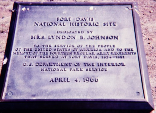Plaque at Fort Davis National Historic Site
