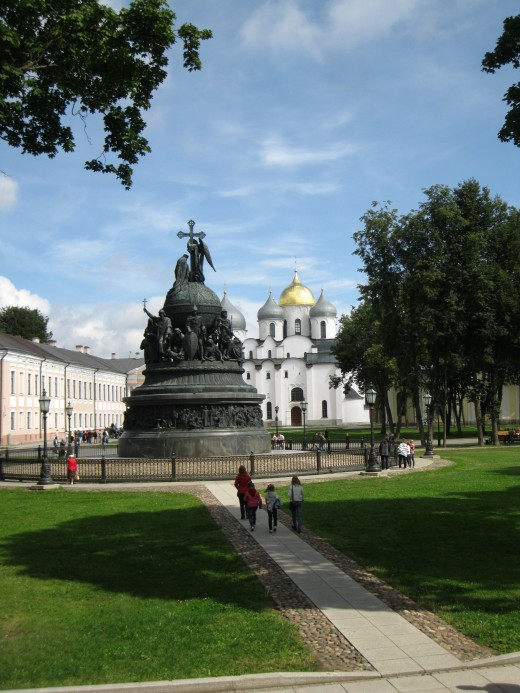 Nineteenth century Millennium monument, with St. Sophia Cathedral in background, in Kremlin in Veliky Novgorod, Russia commemorating 1,000 years of Russian history.