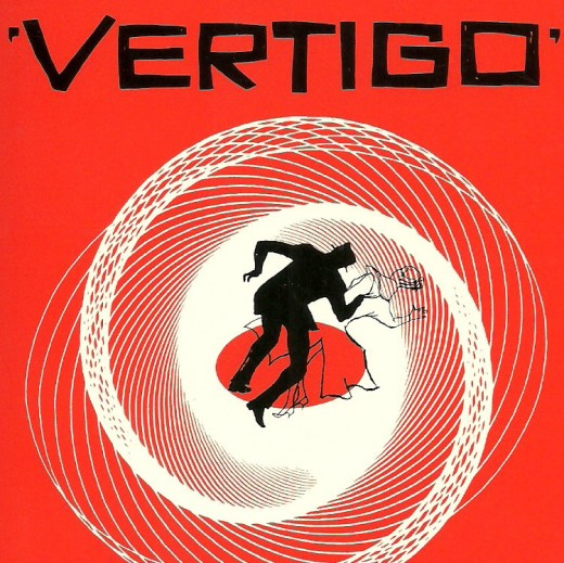 "James Stewart chases Kim Novak to distraction in ""Vertigo""."