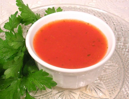 This sweet and tangy homemade tomato soup is a gorgeous color. Photo by Sally's Trove.